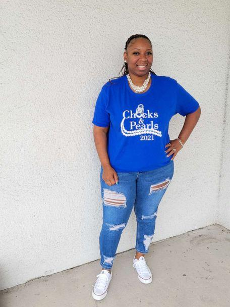 PHOTO: Miami-based podiatrist assistant, Lamarcia Davis, rocks pearls and chucks to celebrate Kamala Harris historic vice president win. (Courtesy Lamarcia Davis)