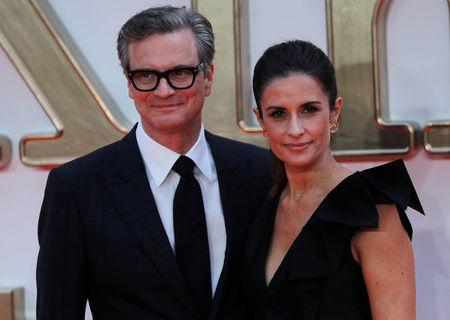 """Cast member Colin Firth arrives with his wife Livia Giuggioli for the world premiere of """"Kingsman: The Golden Circle"""" in London"""