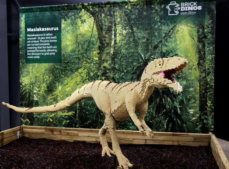 It took 60,000 Legos to build the Masiakasaurus. This piece is part of the Brick Dinos that will run May 25 through September 2 at the Milwaukee Coun ty Zoo.
