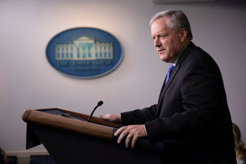 White House Chief of Staff Mark Meadows speaks to reporters at the White House in Washington