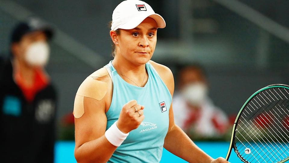 Ash Barty, pictured here after her victory over Shelby Rogers at the Madrid Open.