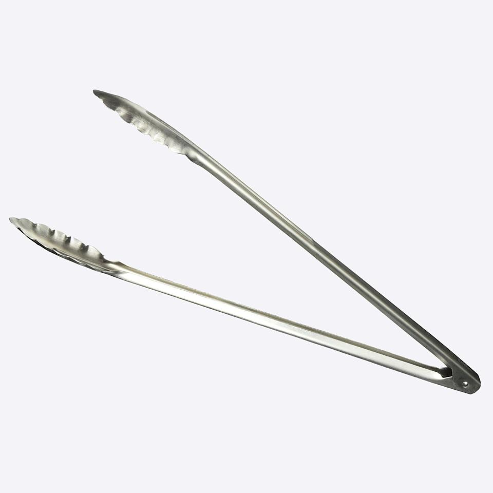 Sturdy, all-metal dishwasher-safe tongs that are easy to wield are non-negotiable. From flipping meat to adjusting coals to grabbing hot trays or wire racks, durable tongs are a griller's best friend. Pro tip: Keep at least two on hand to prevent cross-contamination between cooked and uncooked meat.