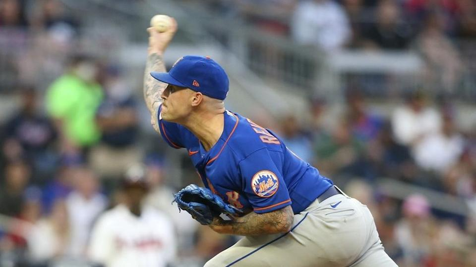 May 17, 2021; Atlanta, Georgia, USA; New York Mets relief pitcher Sean Reid-Foley (61) throws a pitch against the Atlanta Braves in the fourth inning at Truist Park.