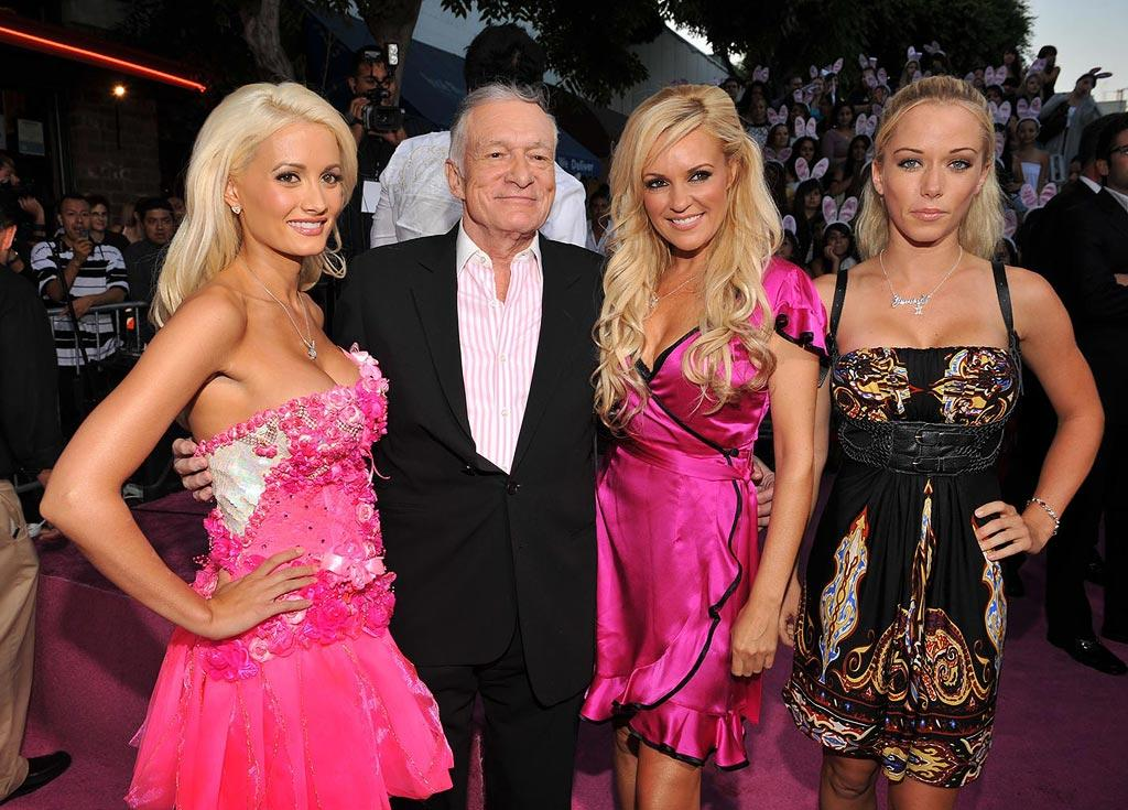 "Holly Madison, <a href=""http://movies.yahoo.com/movie/contributor/1800321451"">Hugh Hefner</a>, Bridget Marquardt and Kendra Wilkinson at the Los Angeles Premiere of <a href=""http://movies.yahoo.com/movie/1809921361/info"">The House Bunny</a> - 08/20/2008"