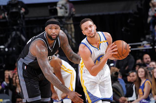 DeMarcus Cousins and Stephen Curry: a partnership light years in the making. (Getty)