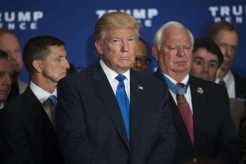 Donald Trump at a September 2016 campaign event at the Trump International Hotel in Washington, D.C., where he stated he believes President Obama was born in the United States. (Photo: Tom Williams/CQ Roll Call via Getty Images)