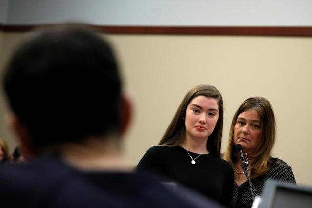 Emma Ann Miller, 15, and her mother face disgraced former USA Gymnastics team Dr. Larry Nassar in court. (Reuters)