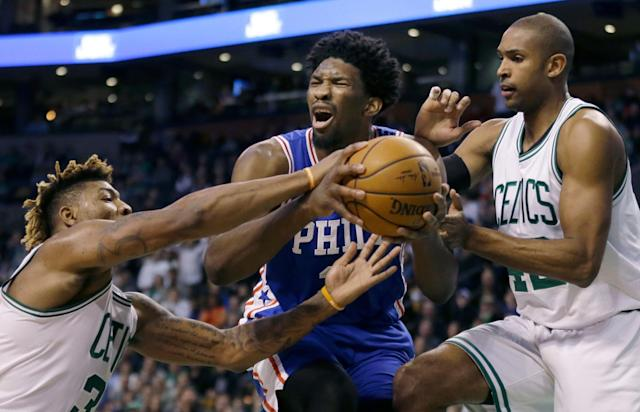 Marcus Smart earned an ejection for shoving Joel Embiid. Was it part of an elaborate troll job? (Getty)