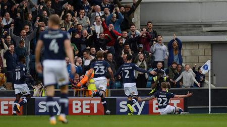 Soccer Football - Championship - Millwall vs Leeds United - The Den, London, Britain - September 16, 2017  Millwall's Aiden O'Brien celebrates scoring their first goal  Action Images/Adam Holt