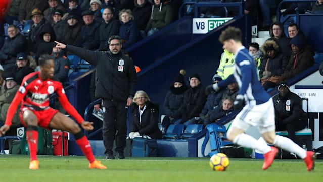 """Soccer Football - Premier League - West Bromwich Albion vs Huddersfield Town - The Hawthorns, West Bromwich, Britain - February 24, 2018 Huddersfield Town manager David Wagner gestures Action Images via Reuters/Paul Childs EDITORIAL USE ONLY. No use with unauthorized audio, video, data, fixture lists, club/league logos or """"live"""" services. Online in-match use limited to 75 images, no video emulation. No use in betting, games or single club/league/player publications. Please contact your account representative for further details."""