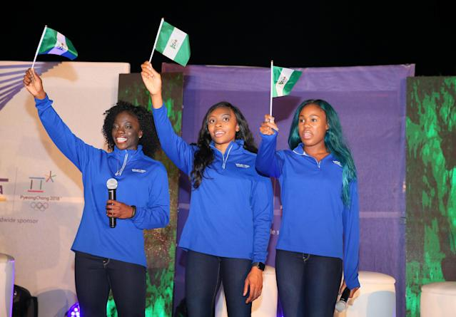 <p>Nigerian women's bobsled team members Seun Adigun, Ngozi Onwumere and Akuoma Omeoga wave will be the first from their country to compete at the Winter Olympics. </p>