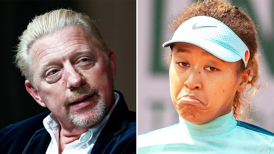 Tennis legend Boris Becker (pictured left) looks on during an interview and (pictured right) Naomi Osaka during training.