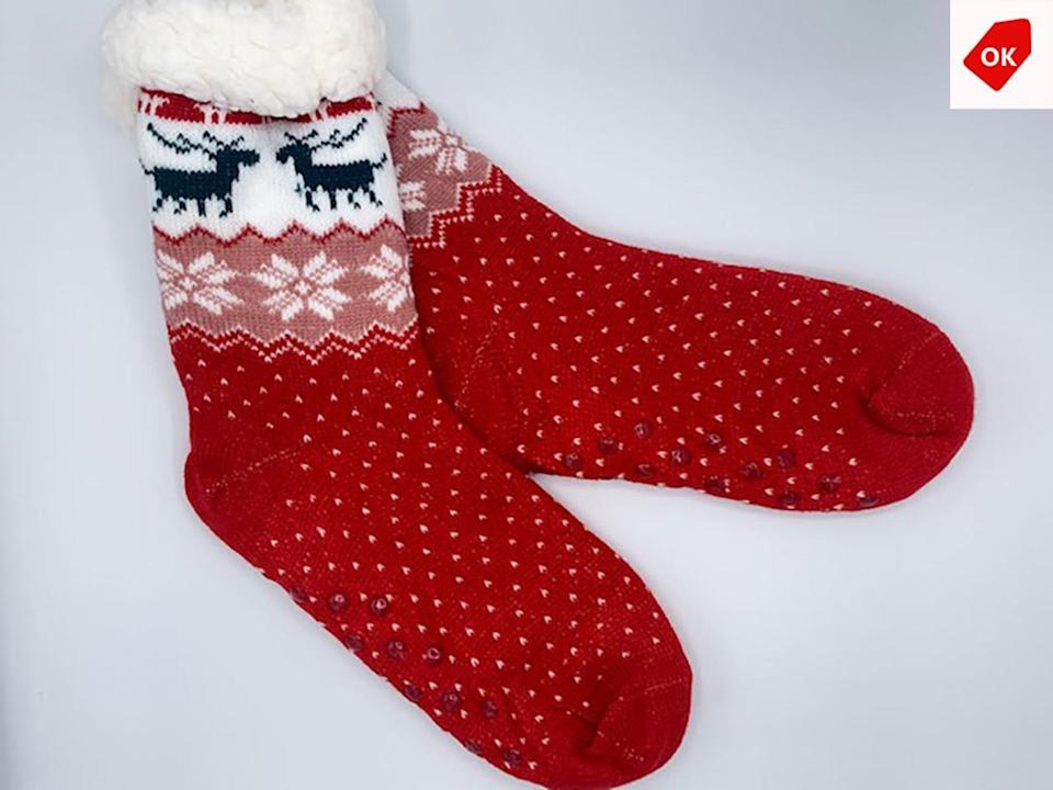 <p>Stay cozy and in the Christmas spirit with the <span>Christmas Socks with Non-Slip Silicon Grip</span> ($10).</p>