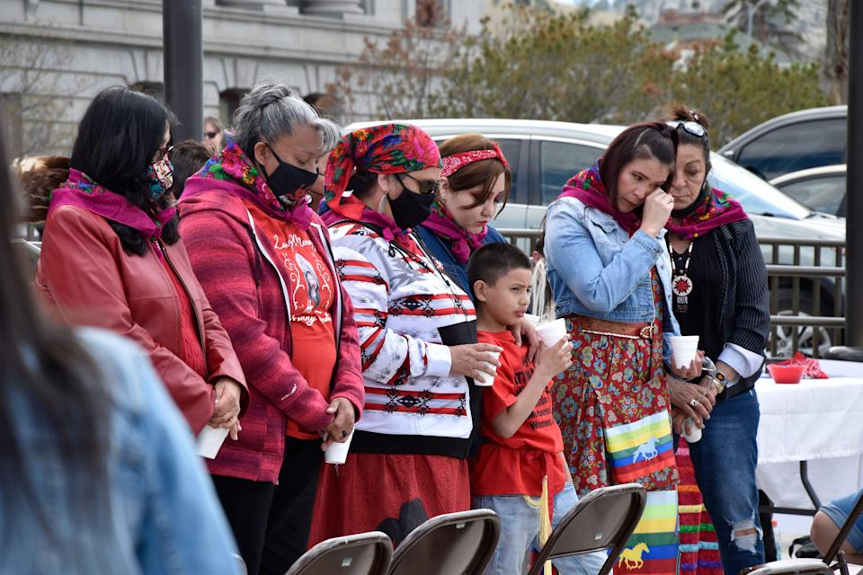 Family members of missing and murdered indigenous women in Montana gather in front of the state Capitol in Helena, Mont., Wednesday, May 5, 2021.
