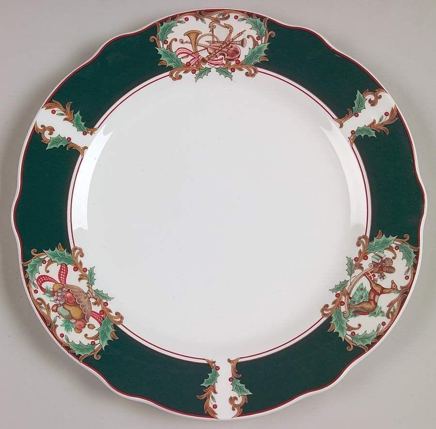 """<p><strong>Noritake</strong></p><p>replacements.com</p><p><a href=""""https://go.redirectingat.com?id=74968X1596630&url=https%3A%2F%2Fwww.replacements.com%2Fp%2Fnoritake-home-for-christmas-salad-plate%2Fn__hofc%2F4412371&sref=https%3A%2F%2Fwww.countryliving.com%2Fshopping%2Fgifts%2Fg33633781%2Fchristmas-china-patterns%2F"""" rel=""""nofollow noopener"""" target=""""_blank"""" data-ylk=""""slk:Shop Now"""" class=""""link rapid-noclick-resp"""">Shop Now</a></p><p>This everyday set was in production from 1993 to 1999. It features a deep green rim with scenes of a rocking horse, fruit basket, and musical instruments.</p>"""