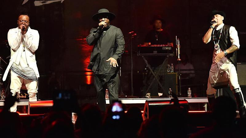 will.i.am leader des Black Eyed Peas, en concert avec apl.de.ap and Taboo. - Mike Coppola - Getty Images North America - AFP
