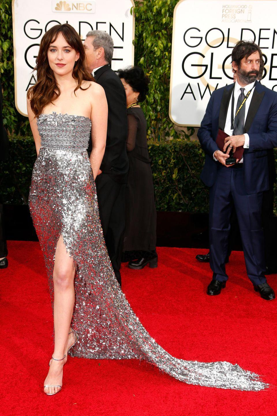 <p>A necomer on the scene in one of the sexiest films of 2015 (50 Shades of Grey), Johnson stunned in glittering Chanel at the ceremony.</p>