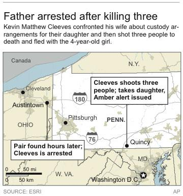 Map locates site of a shooting in Pennsylvania