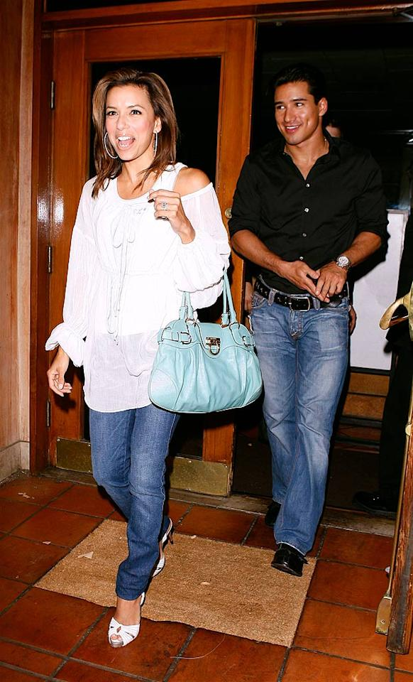 """For awhile, longtime pals Eva Longoria Parker and Mario Lopez were spending so much time together that people were starting to talk. The two insist that their relationship is strictly platonic. RL/<a href=""""http://www.x17online.com"""" target=""""new"""">X17 Online</a> - July 24, 2007"""