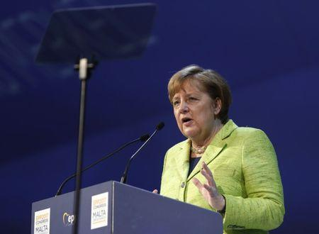 German Chancellor Angela Merkel takes part in a European People Party summit in St Julian's