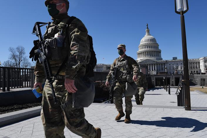 """Police said they have bolstered security in Washington after intelligence uncovered a """"possible plot to breach the Capitol"""" on March 4. (Photo: ERIC BARADAT/AFP via Getty Images)"""