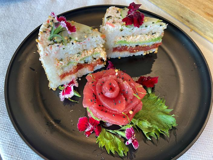 Sushi cake pieces served at Aloha Cones in Honolulu, Hawaii. (Michael Narito)