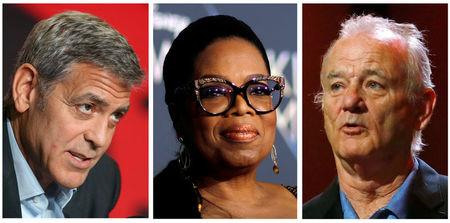 FILE PHOTO: A combination photo shows actors George Clooney (L to R), Oprah Winfrey and Bill Murray in Toronto, Ontario, Canada, Los Angeles, California, and Berlin, Germany respectively.  REUTERS/Files