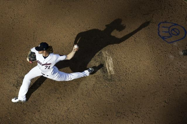 Milwaukee Brewers relief pitcher Josh Hader throws during the seventh inning of a baseball game against the Minnesota Twins Tuesday, July 3, 2018, in Milwaukee. (AP Photo/Morry Gash)