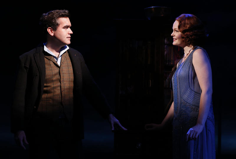 """This theater image released by The Public Theater shows Brian d'Arcy James, left, and Kate Baldwin during a performance of """"Giant,"""" at The Public Theater at Astor Place in New York.  The play will run through Dec. 2. (AP Photo/The Public Theater, Joan Marcus)"""