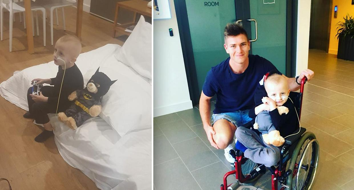 (Left) Josh and his trusty Batman teddy tuck into some Fortnite. (Right) Josh receives a visit from his hero, GWS Giants player Adam Tomlinson. Images: Supplied