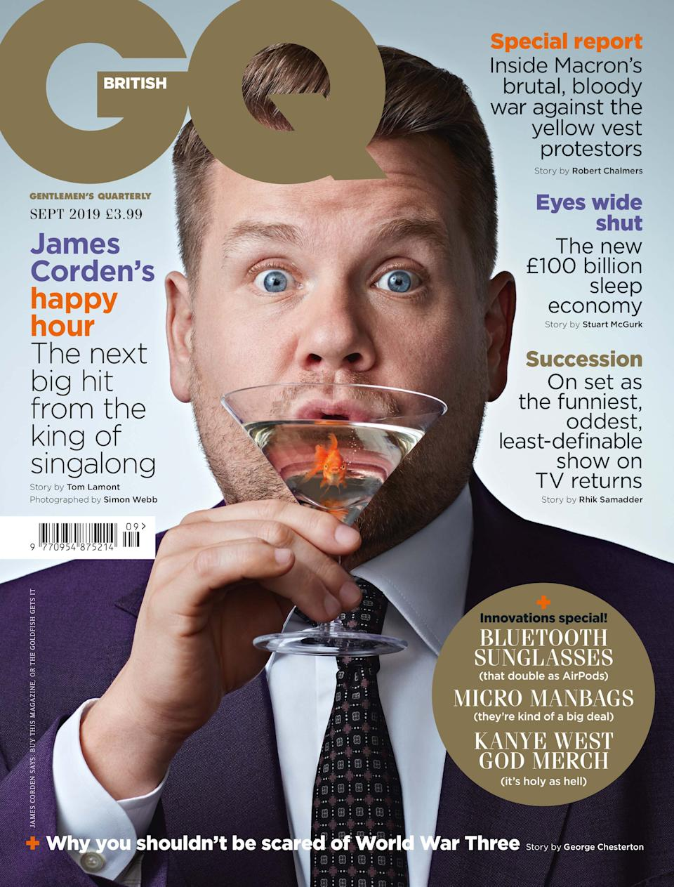 James Corden will appear on the cover of the September 2019 issue of British GQ. (Credit: Simon Webb)