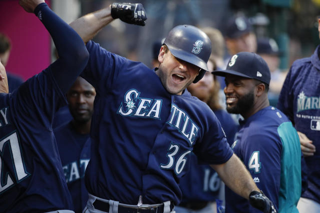Seattle Mariners' David Freitas celebrates his home run during the third inning of the team's baseball game against the Los Angeles Angels, Wednesday, July 11, 2018, in Anaheim, Calif. (AP Photo/Jae C. Hong)