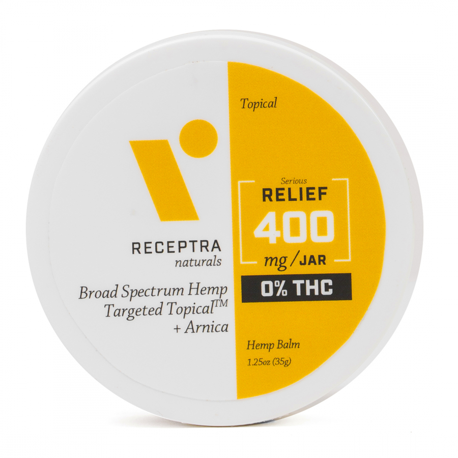 "<h3>Receptra Naturals Targeted Topical</h3><br>This topical balm is meant to target irritated, inflamed, or simply stressed muscles after a long day.<br><br><strong>Receptra Naturals</strong> Receptra Targeted Topical, $, available at <a href=""https://go.skimresources.com/?id=30283X879131&url=https%3A%2F%2Freceptranaturals.com%2Fserious-relief-arnica-targeted-topical-0-thc.html"" rel=""nofollow noopener"" target=""_blank"" data-ylk=""slk:Receptra Naturals"" class=""link rapid-noclick-resp"">Receptra Naturals</a>"