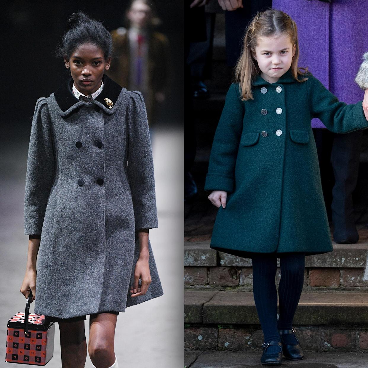 This Gucci coatdress captures Charlotte's fashion sense, and this model captures her attitude. (Getty Images)