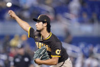 San Diego Padres starting pitcher Yu Darvish throws during the first inning of a baseball game against the Miami Marlins, Sunday, July 25, 2021, in Miami. (AP Photo/Lynne Sladky)