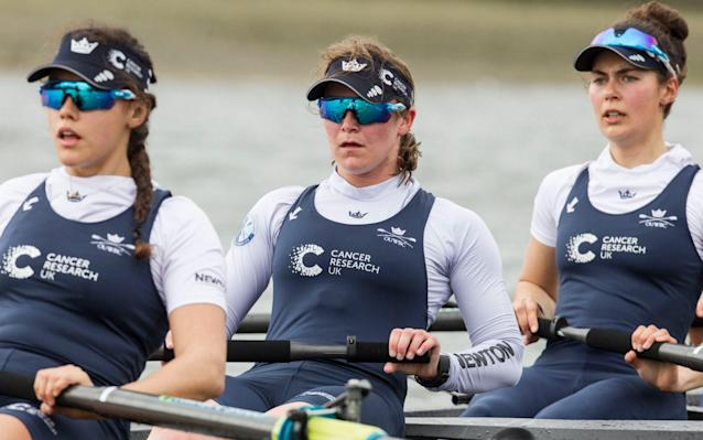 <span>Esselstein (centre) in training for Sunday's boat race</span> <span>Credit: Heathcliff O'Malley </span>