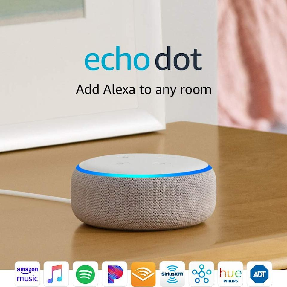 "<p>Customers rave over this <a href=""https://www.popsugar.com/buy/Echo%20Dot%20%283rd%20Generation%29%20Alexa-Enabled%20Bluetooth%20Speaker-471620?p_name=Echo%20Dot%20%283rd%20Generation%29%20Alexa-Enabled%20Bluetooth%20Speaker&retailer=amazon.com&price=50&evar1=savvy%3Aus&evar9=46412616&evar98=https%3A%2F%2Fwww.popsugar.com%2Fsmart-living%2Fphoto-gallery%2F46412616%2Fimage%2F46413252%2FEcho-Dot-3rd-Generation-Alexa-Enabled-Bluetooth-Speaker&list1=shopping%2Camazon%2Cgift%20guide&prop13=mobile&pdata=1"" rel=""nofollow"" data-shoppable-link=""1"" target=""_blank"" class=""ga-track"" data-ga-category=""Related"" data-ga-label=""https://www.amazon.com/Echo-Dot-3rd-Gen-Sandstone/dp/B07PGL2N7J/ref=zg_bsms_amazon-devices_2?_encoding=UTF8&amp;psc=1&amp;refRID=5PTWCGFTRCXX59QSMSCP"" data-ga-action=""In-Line Links"">Echo Dot (3rd Generation) Alexa-Enabled Bluetooth Speaker</a> ($50).</p>"