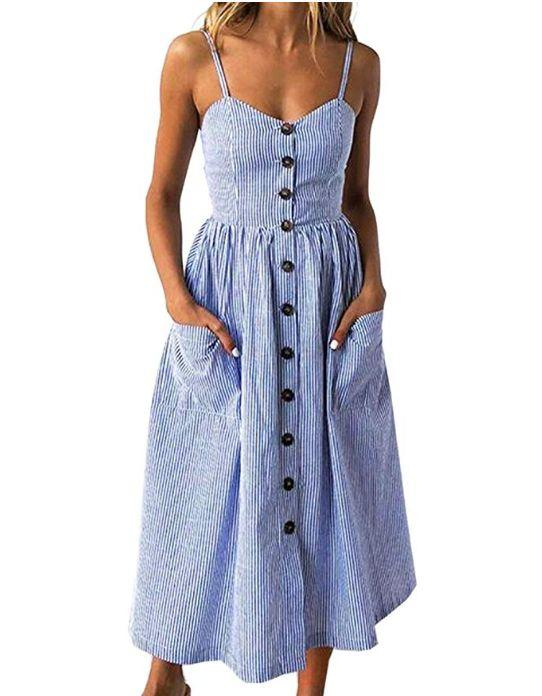 """This spaghetti strap dress comes in sizes S to XXL and thirty-four prints and patterns.<strong> <a href=""""https://amzn.to/2lzovbS"""" target=""""_blank"""" rel=""""noopener noreferrer"""">Normally $22, get it on sale for $19 on Prime Day</a>.</strong>"""