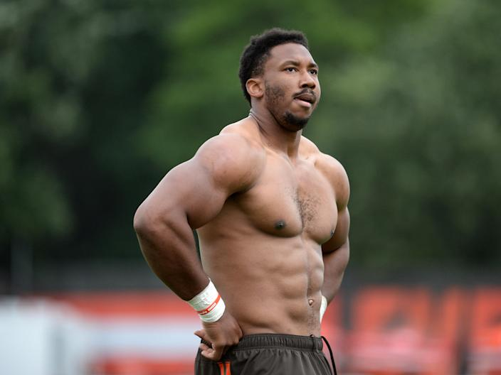Cleveland's Myles Garrett says an anonymous fan tried to sucker punch him. (Getty Images)