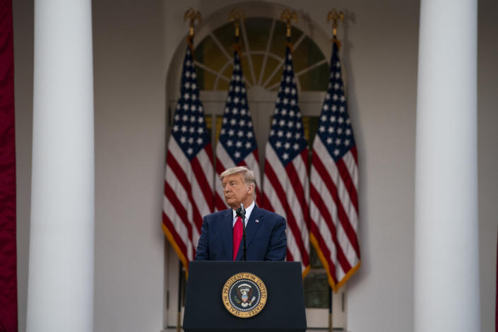President Donald Trump speaks in the Rose Garden of the White House, Friday, Nov. 13, 2020, in Washington. (AP Photo/Evan Vucci)