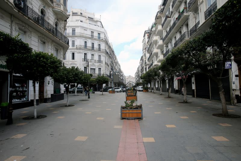 FILE PHOTO: A view of an empty street, following the outbreak of the coronavirus disease (COVID-19), in Algiers