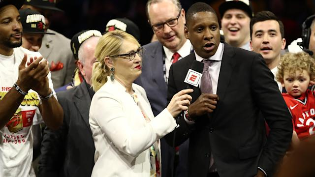 Toronto Raptors president Masai Ujiri nearly had this moment taken away from him by a security guard. (Ezra Shaw/Getty Images)