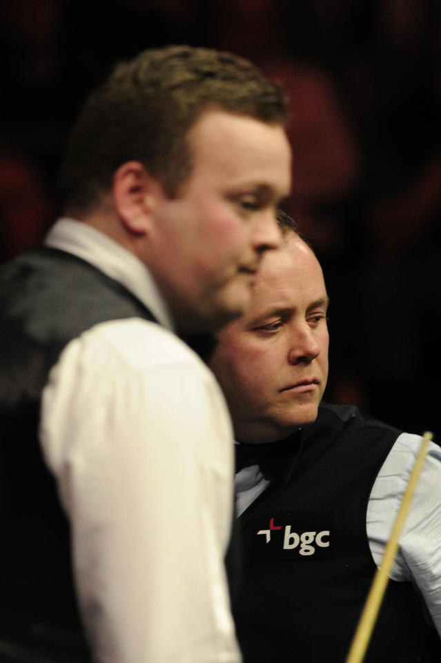 John Higgins of Scotland (R) and Shaun Murphy of England are pictured during the semi-final match in the BGC Masters snooker tournament at Alexandra Palace in north London on January 21, 2012. AFP PHOTO / CARL COURT (Photo credit should read CARL COURT/AFP/Getty Images)