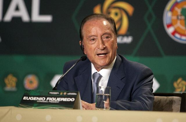 Eugenio Figueredo, who faces corruption charges in his home country of Uruguay, was indicted in the United States as part of a massive probe into decades of graft at the top of world football (AFP Photo/Alexia Fodere)