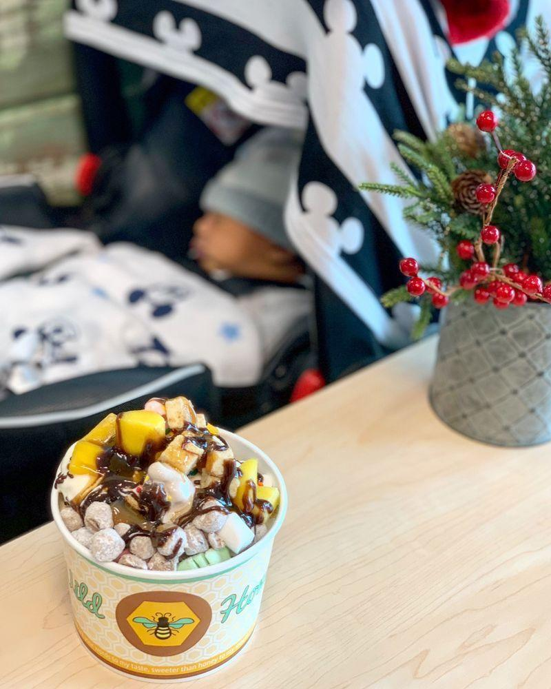 """<p><strong><a href=""""https://www.yelp.com/biz/wild-honey-frozen-yogurt-pensacola"""" rel=""""nofollow noopener"""" target=""""_blank"""" data-ylk=""""slk:Wild Honey Frozen Yogurt"""" class=""""link rapid-noclick-resp"""">Wild Honey Frozen Yogurt</a>, Pensacola</strong></p><p>""""This place is great. The froyo is excellent, and worth the price. They have a HUGE selection of toppings- from strawberry poppers to full sized chocolate chip cookies. They have about 20 different flavors of froyo, and provide dividers so you can get multiple! Don't worry about combining flavors and toppings, as the price is by weight. Overall, this place is outstanding and would make a great addition to your beach trip!"""" - Yelp user <a href=""""https://www.yelp.com/user_details?userid=SGQapnqlfsodgqfq4zgIWg"""" rel=""""nofollow noopener"""" target=""""_blank"""" data-ylk=""""slk:Braxton Z."""" class=""""link rapid-noclick-resp"""">Braxton Z.</a></p><p>Photo: Yelp/<a href=""""https://www.yelp.com/biz_photos/wild-honey-frozen-yogurt-pensacola?select=-NYrVM9EY4hsJj5ufTdwwg"""" rel=""""nofollow noopener"""" target=""""_blank"""" data-ylk=""""slk:Lei F."""" class=""""link rapid-noclick-resp"""">Lei F.</a></p>"""