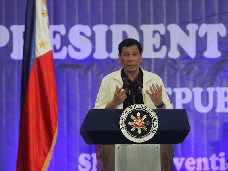 President Rodrigo Duterte speaks to town mayors in Davao City in southern Philippines: Reuters