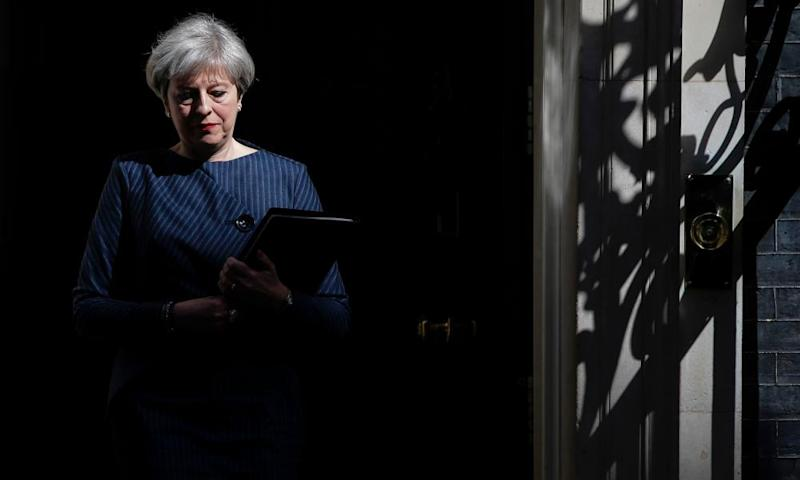 Theresa May walking out of 10 Downing Street this morning to announce that she wants to hold a snap general election on 8 June