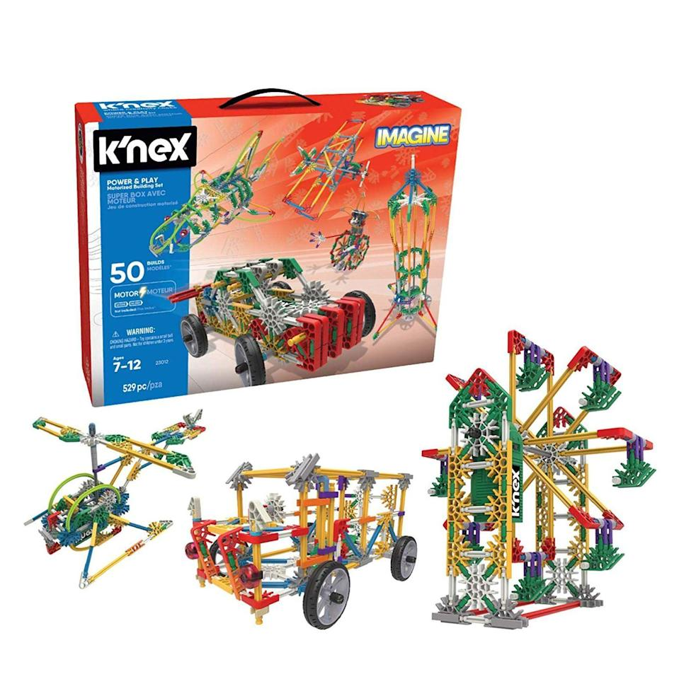"<p><strong>K'NEX Imagine</strong></p><p>amazon.com</p><p><strong>$39.97</strong></p><p><a href=""https://www.amazon.com/dp/B06Y483TG2?tag=syn-yahoo-20&ascsubtag=%5Bartid%7C10055.g.4695%5Bsrc%7Cyahoo-us"" rel=""nofollow noopener"" target=""_blank"" data-ylk=""slk:Shop Now"" class=""link rapid-noclick-resp"">Shop Now</a></p><p><strong>With more than 529 parts</strong>, she can piece together the different sizes of connectors, rods and wheels for a world of 3D creations. <br></p>"