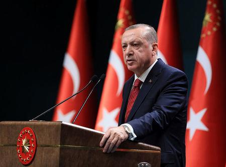 Turkish President Tayyip Erdogan addresses a news conference at the Presidential Palace in Ankara, Turkey, April 18, 2018. Murat Cetinmuhurdar/Presidential Palace/Handout via REUTERS