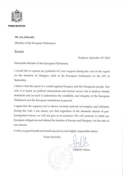 The letter was sent by Hungarian prime minister Viktor Orban to MEPs